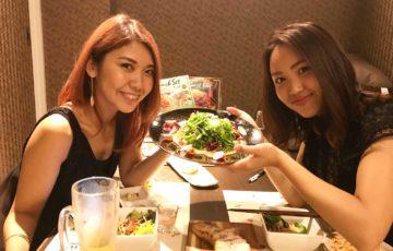 中島姉妹とサーモンサラダ@イタリアンレストランだん